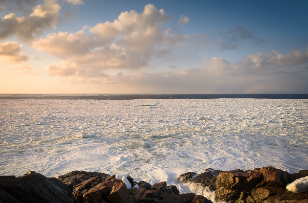 Sea ice sunset - Salt Harbour