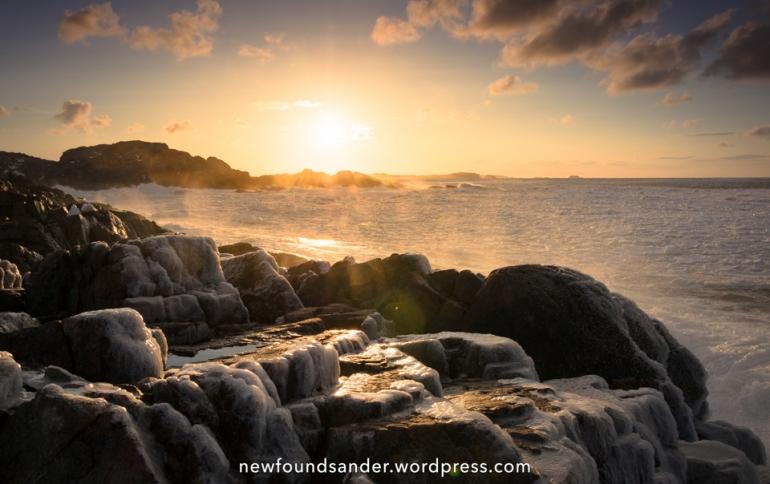 Frozen cliffs at sunset - Salt Harbour