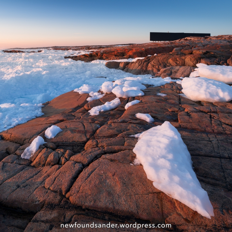 Icy sunset at the Long Studio - Joe Batt's Arm, Fogo island