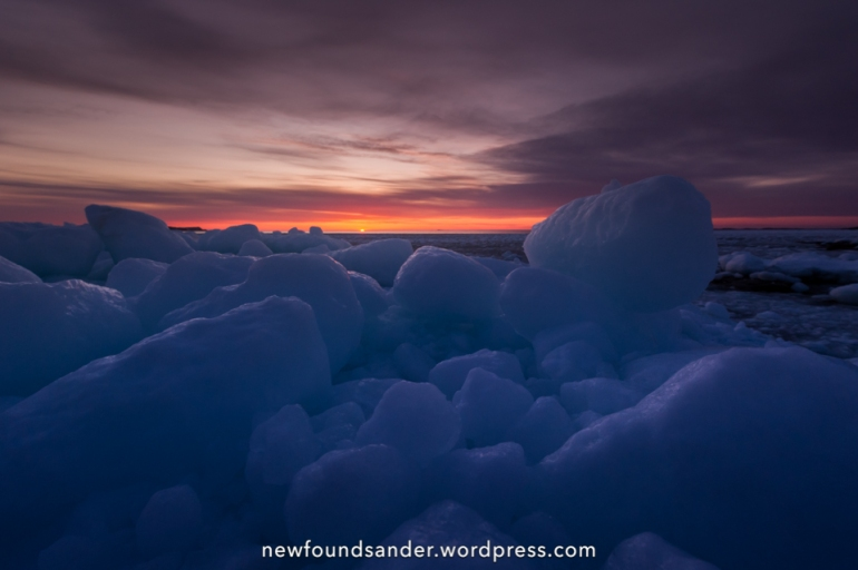 Sea ice sunset - Joe Batt's Arm, Fogo Island
