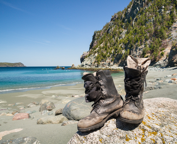 Take your shoes off - Lance Cove beach, Cape Broyle Head Path