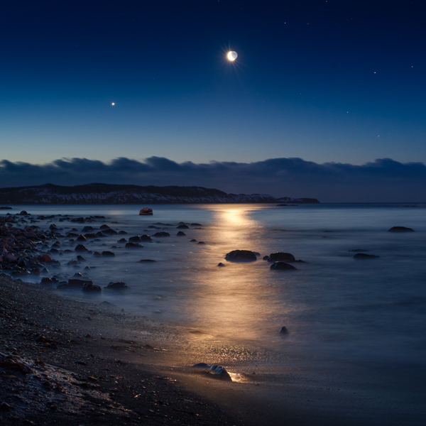 Venus and the crescent moon rise over Gull Island - Witless Bay